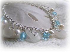 Swirls and Pearls White Beach Glass Bracelet