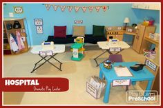 The dramatic play centre will often change from a house centre depending on the children's interest/what is being taught in the learning environment. Some dramatic play centre ideas can be a hospital, a pizzeria, or a hardware store.