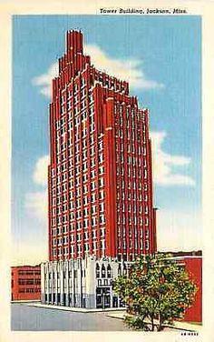 Jackson Mississippi MS 1944 Tower Building Vintage Linen Postcard