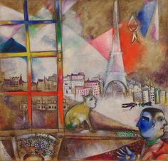 [Marc Chagall] Paris through the window, 1913 - After Marc Chagall moved to Paris from Russia in 1910, his paintings quickly came to reflect the latest avant-garde styles. In Paris Through the Window, Chagall's debt to the Orphic Cubism of his colleague Robert Delaunay is clear in the semitransparent overlapping planes of vivid color in the sky above the city. The Eiffel Tower, which appears in the cityscape, was also a frequent subject in Delaunay's work. For both artists it served as a…