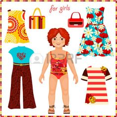Paper doll with a set of fashion clothes. Cute girl. Template for cutting. Summer Collection