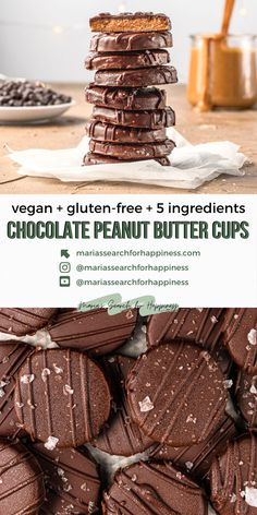 These chocolate peanut butter cups are vegan and gluten-free and can easily be made refined sugar-free and oil-free. This recipe makes approximately 28 – 30 chocolate peanut butter cups. #vegansweets #vegantreats #vegansnacks #vegancandy #vegandessert #glutenfree #vegan #glutenfreerecipes #glutenfreesweets #glutenfreetreats #5ingredientsnacks #veganhalloweencandy #chocolateandpeanutbutter #veganreeses #chocolatepeanutbutter #chocolatepeanutbuttercups #veganchocolate #holidaytreats… Vegan Dessert Recipes, Delicious Vegan Recipes, Vegan Sweets, Vegan Snacks, Whole Food Recipes, Delicious Desserts, Candy Recipes, Cookie Recipes, Snack Recipes