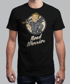"""""""Road Warrior"""" is today's £8/€10/$12 tee for 24 hours only on www.Qwertee.com Pin this for a chance to win a FREE TEE this weekend. Follow us on pinterest.com/qwertee for a second! Thanks:)"""