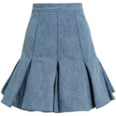 Balmain Blue Pleated Denim Mini Skirt ($900) ❤ liked on Polyvore featuring skirts, mini skirts, blue, denim pleated mini skirt, miniskirts, pleated miniskirt, women skirts and denim miniskirt