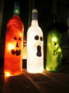 Testing Trendy....1, 2, 3: wine bottle Halloween project