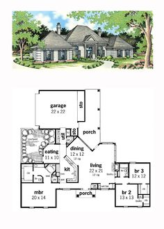 House Plan 65674 - Mediterranean, One-Story Style House Plan with 2023 Sq Ft, 3 Bed, 2 Bath, 2 Car Garage Best House Plans, Country House Plans, Courtyard House Plans, Thatched House, First Story, Entry Foyer, Living Area, Interior And Exterior, Luxury Homes