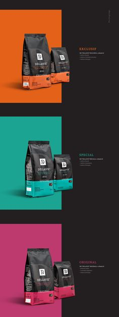 Dellavie — coffee packaging and landing page on Behance