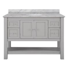 Home Decorators Collection Gazette 49 in. W x 22 in. D Vanity in Grey with Marble Vanity Top in Cararra White with White Basin GAGA4822-CAR at The Home Depot - Mobile