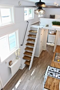 tiny house on wheels & tiny house ` tiny house design ` tiny house plans ` tiny house living ` tiny house ideas ` tiny house interior ` tiny house bathroom ` tiny house on wheels Tiny House Stairs, Tiny House Loft, Tiny House Storage, Best Tiny House, Tiny House Trailer, Modern Tiny House, Tiny House Plans, Tiny House Design, Tiny House On Wheels