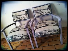 Vintage armchairs: painted lavender with black and white city scene printed fabric. Brooklyn Girl, Black And White City, Marquee Lights, City Scene, Armchairs, Color Trends, Painted Furniture, Printing On Fabric, Upholstery