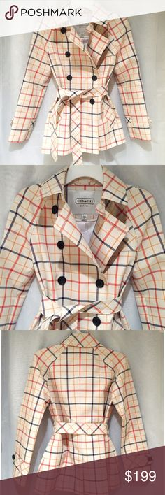 Coach Tattersall Multi Colored Short Trench Coat Brand new, women's size XS. Does run a bit large so can definitely fit up to a size Small. Retails for $378! This Coach Tattersall Plaid Multi Colored Short Trench Coat is the perfect jacket for the fall! An off white coat with blue, red and orange tattersall throughout, adorned with black buttons. Gives off a Burberry vibe! The belt accentuates the waist. Such a classic piece that will be your go to jacket this fall! Two front pockets. Lined…