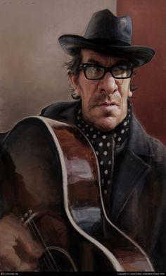 Elvis Costello by Jason Seiler | 2D | CGSociety via PinCG.com