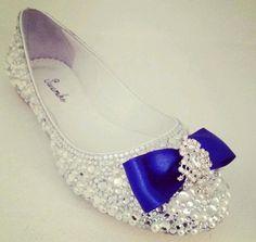 scarpa sposa bassa, ballerina, particolare fiocco blu