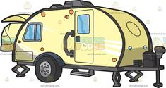 A Teardrop Trailer: A yellow RV teardrop trailer with soft edges single door gray steel attachment and two retractable stands Travel Clipart, Teardrop Trailer, Single Doors, Vector Illustrations, Rv, Vehicle, Clip Art, Cartoon, Steel