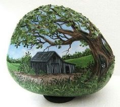❤~Piedras Pintadas~❤ Painted Rock Old Barn.I would do it on something besides a rock. Pebble Painting, Pebble Art, Stone Painting, Rock Painting Patterns, Rock Painting Designs, Stone Crafts, Rock Crafts, Hand Painted Rocks, Painted Stones