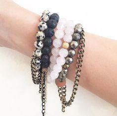 our fave look // the dalmatian + the panther + the arctic fox + the barracuda #kayandjobracelets #armcandy #etsy #jewelry #bracelets #jotd www.kayandjo.com