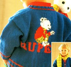 Vintage ROBIN 15025 Children Rupert The Bear by TheAtticofKitsch Yarn Bombing, Retro Toys, Rag Dolls, Vintage Knitting, Jumpers, Kitsch, Robin, Christmas Sweaters, Knit Crochet