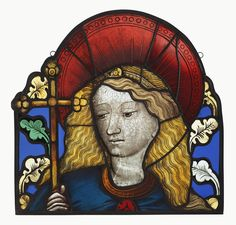 Head of an Angel or Saint; about Pot-metal and colorless glass, vitreous paint, and silver stain; lead came; Medieval Stained Glass, Modern Stained Glass, Stained Glass Angel, Art Roman, Glass Art Design, Medieval Gothic, Getty Museum, Collage Artwork, Great Paintings