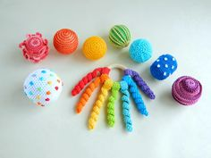Montessori sensory balls Rainbow baby rattle Crochet rattle ball toddler activity toys Baby Sensory Toys, Montessori Baby Toys, Crochet Ball, Crochet Baby Toys, Ball Pit For Toddlers, Newborn Toys, Rainbow Crochet, Activity Toys, Developmental Toys