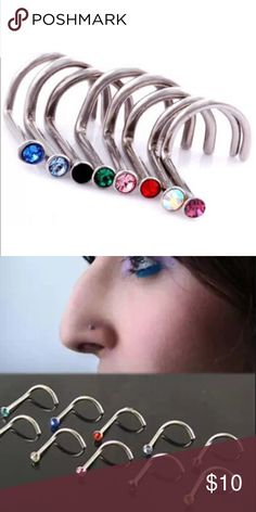 6 18G Nose Ring Studs 🎉 Brand new 💋 pick your 6 Colors ❤️ numerous other nose ring hoops and studs available Devin Nicoles Designs Jewelry