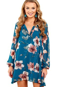ebc3fde8501 Cheap Indigo Blue Floral Print V Neck Chiffon Dress only US  9.18