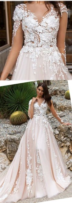Charming Tulle & Taffeta V-Neck A-Line Wedding Dresses With 3D Lace Appliques