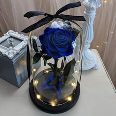 Blue Rose in Glass Dome Blue Enchanted Forever Rose Beauty and The Beast Rose Memorial gift Engagement Gift Birthday Gift wedding gift Royal Blue Centerpieces, Blue Wedding Decorations, Quince Decorations, Quinceanera Planning, Quinceanera Themes, Quince Themes, Quince Ideas, Quinceanera Centerpieces, Forever Rose