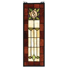 Features:  -Pasadena Rose collection.  -Rectangular tiffany original stained glass window is framed in solid brass.  -Made in the USA.  Color: -Multi-colored.  Country of Manufacture: -United States.