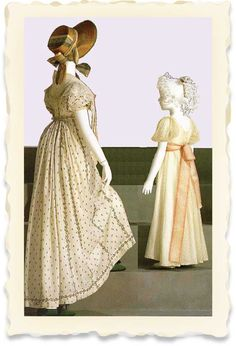 White muslin Regency dresses