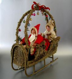 Antique Santa & Mrs Claus Loofah Sleigh Wheels c.1915 Vintage Father Christmas
