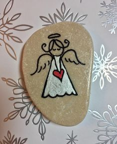 Angel Pocket Rock, Angel in My Pocket, Pocket Stone, Comfort Stone, Pocket Charm, Worry Stones, Guardian Angel, Stocking stuffer by AlleluiaRocks on Etsy