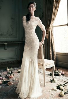 lace sleeves - gown by Jenny Packham