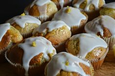 Iced lemon and poppy seed muffins