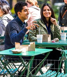 Olivia Munn and Dev Patel lunched on Shake Shack shooting The Newsroom in NYCs Madison Square Park April 24.