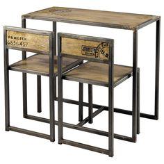 Hochtisch + 2 Stühle aus Mangoholz und Metall, B 90cm