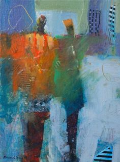 Robert Burridge Soulmates 9x12 inches acrylic/collage on canvas panel, framed