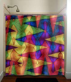 Multi color vines bright colorful rainbow shower curtain bathroom ...