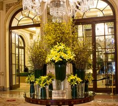 Bright citrus hues of yellow blooms glow like the sun in the lobby of The Plaza Hotel. Arranged with tall, lush Forsythia plants and fresh lilies, this design is a breathtaking spring piece. #theplazahotel
