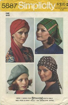 Vintage Hat Sewing Pattern | Simplicity 5887 | Year 1973 | One Size | Turban, Beret, Scarf Hat