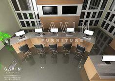 design meja kantor minimalis model letter u Q2317
