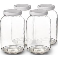 Paksh Novelty Glass Jar Wide Mouth with Airtight Plastic Lid - USDA Approved BPA-Free Dishwasher Safe Mason Jar for Fermenting, Kombucha, Kefir, Storing and Canning Uses, Clear Pack) Bulk Food Storage Containers, Dry Food Storage, Pantry Storage, Jar Storage, Storage Ideas, Creative Storage, Pantry Organization, Glass Containers, Kitchen Storage