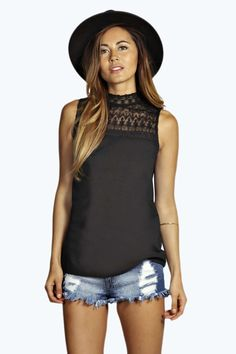 Laila Lace High Neck Woven Top alternative image This top would look nice with grey trousers