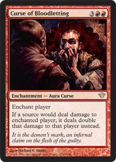 foil Curse of Bloodletting mtg Magic the Gathering Dark Ascension red rare enchantment card