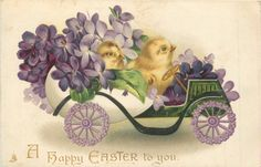 A HAPPY EASTER TO YOU  two chicks in a fantastic egg-car full of violets