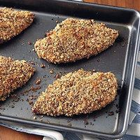 My favorite pecan crusted chicken recipe! We sub light olive oil for the honey mustard but it's great either way! And super quick/easy!!