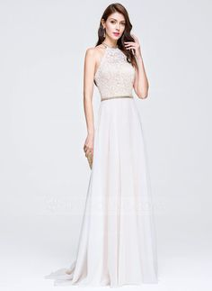 [US$ 156.99] A-Line/Princess Scoop Neck Sweep Train Chiffon Lace Wedding Dress With Beading (002118459)