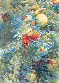 John Singer Sargent - Pomegranates   John Singer Sargent was an American artist. During his career, he created roughly 900 oil paintings and more than 2,000 watercolors, as well as countless sketches and charcoal drawings. His oeuvre documents worldwide travel, from Venice to the Tyrol, Corfu, the Middle East, Montana, Maine, and Florida.