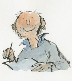 Quentin Blake illustrations- self-portrait Children's Book Illustration, Graphic Design Illustration, Roald Dahl Characters, Quentin Blake Illustrations, Artist Art, Selfies, Book Art, Art Drawings, Character Design