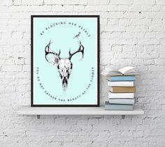 Deer Skull Longhorn Poster Print // Hippie Decor Art // Bohemian Prints by Clarafornia