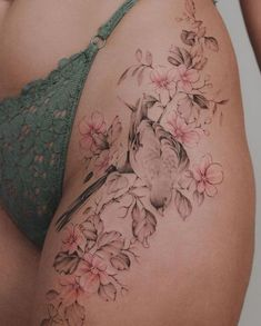 Little bird resting on a branch of cherry blossoms - Tattoos for Women . - Little bird resting on a branch of cherry blossoms – Tattoos for Women – tattoos – - Flower Hip Tattoos, Girl Thigh Tattoos, Floral Thigh Tattoos, Hip Tattoos Women, Sexy Tattoos For Girls, Niece Tattoo, Tattoo P, Piercing Tattoo, Piercings